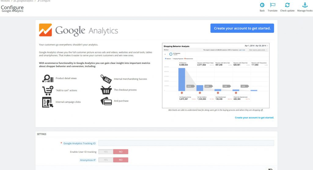 PrestaShop google analytics module