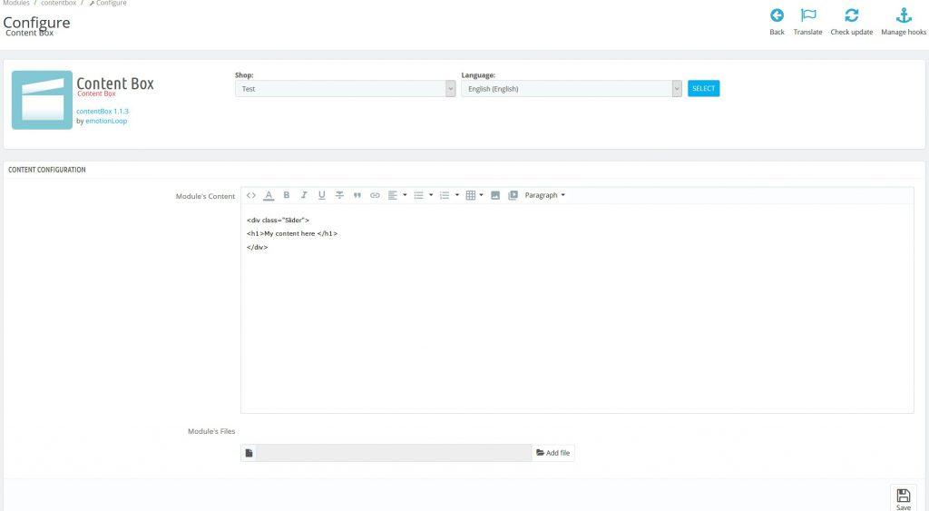 HTML content Box