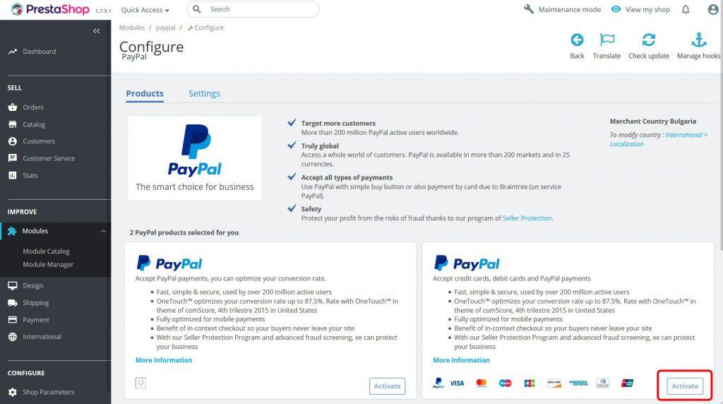 Paypal PrestaShop module