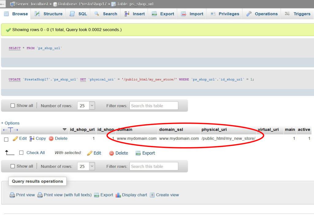 PrestaShop ps_shop_url database field in myphpadmin