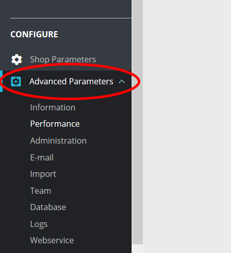PrestaShop Advanced Parameters menu tab