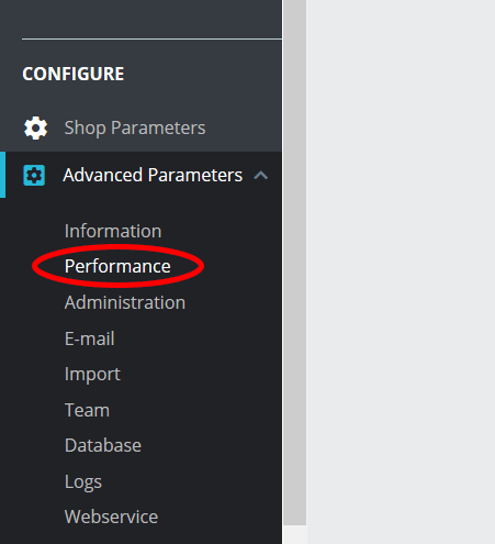 PrestaShop Performance menu tab