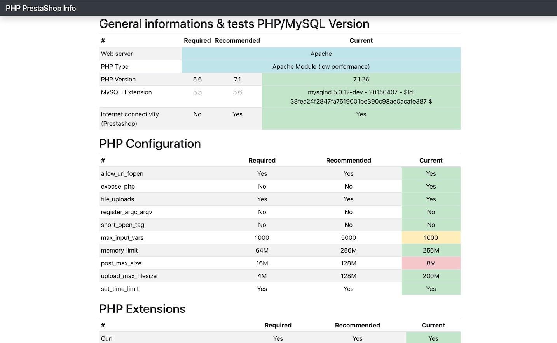 prestashop php info tool screenshot